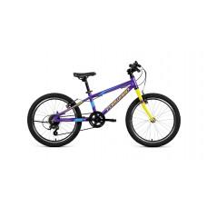 """Детский велосипед Forward Rise 20 2.0 (рост10.5"""") 2020 фиолетовый /желтый"""