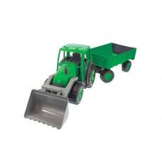 Трактор большой Mochtoys С ковшом и прицепом 11675 green