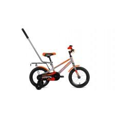 Детский велосипед FORWARD METEOR 14 2021 серый/ оранжевый