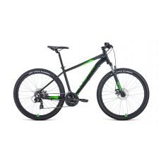 """Велосипед FORWARD APACHE 27,5 2.2 S DISC 17"""" 2021 черный матовый / ярко-зеленый"""